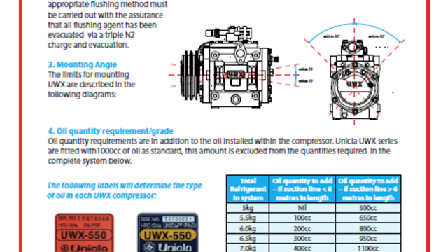 UWX550 fitting guidelines